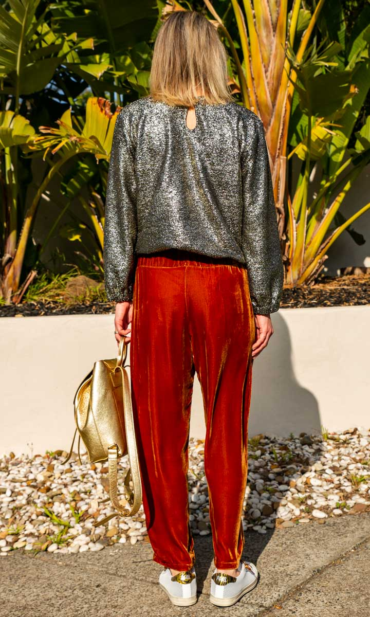 HOSS Velvet Silk Lounge Pants- Rust