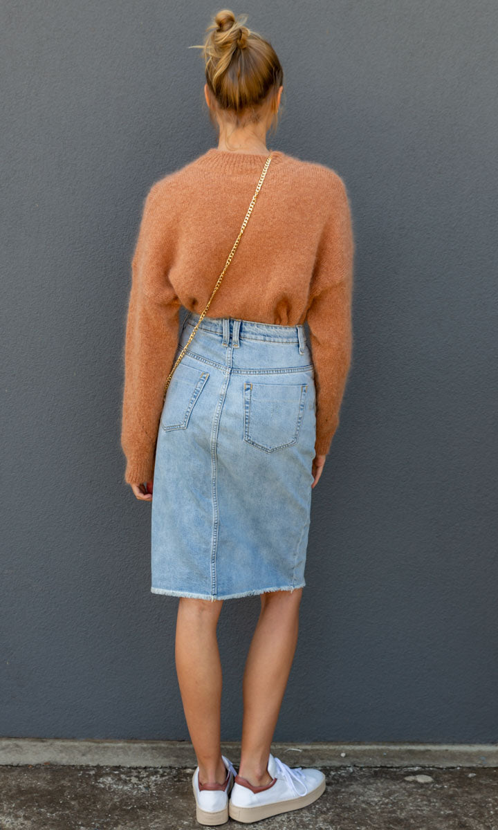 Coper Faded Denim Skirt