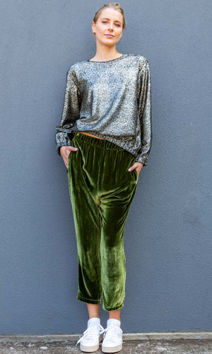 HOSS Velvet Silk Slouch Pants - Emerald Green
