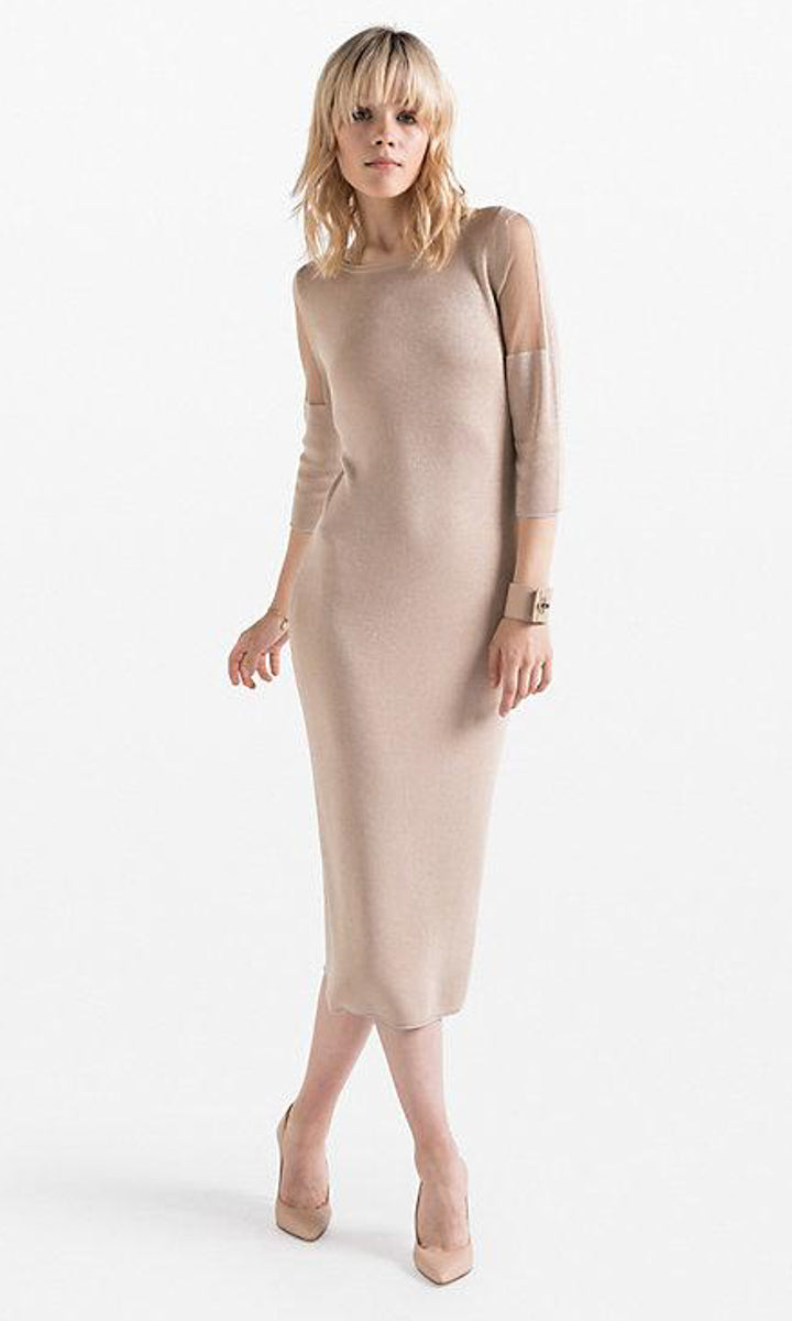 Patricia Pepe Gold Knit Tricot Dress - HOSS