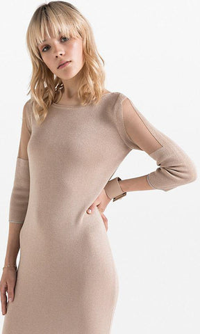 Patricia Pepe Gold Knit Tricot Dress