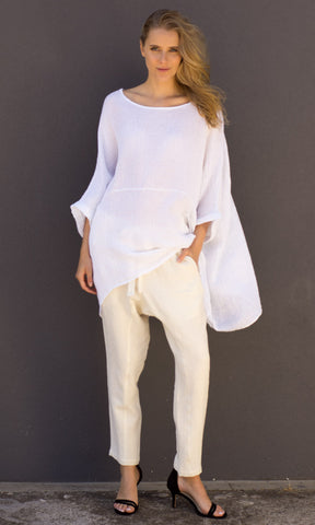 Hoss Linen Top - White