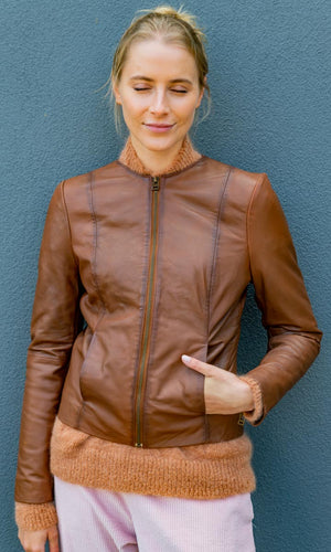 HOSS Mag Tobacco  Leather Jacket