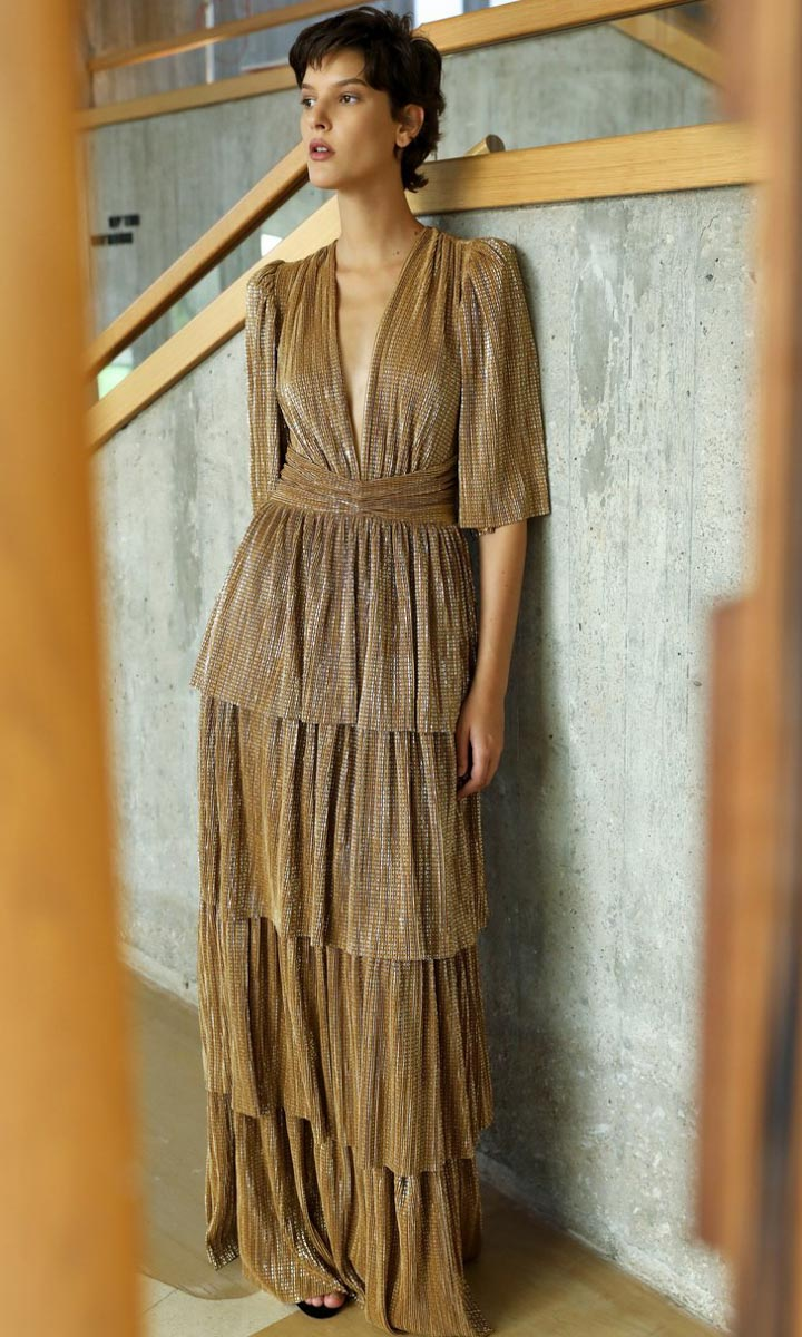 Sabina Musayev Sia Dress - Cumin Gold