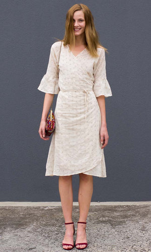 HOSS Embroidered Wrap Dress - Natural - HOSS