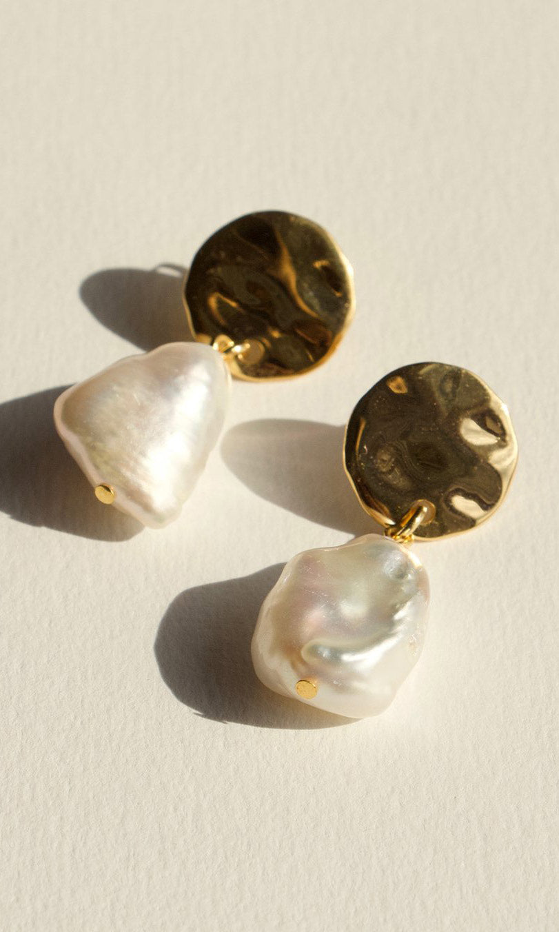 Brie Leon Large Disc Fresco Stud Earrings