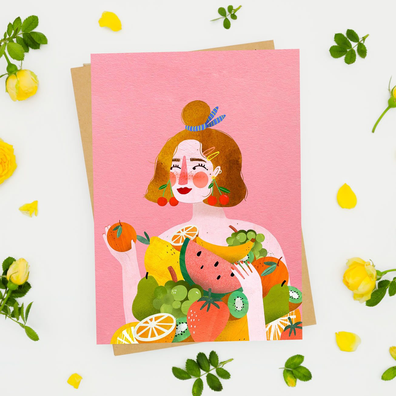 Postcard - Lady fruit