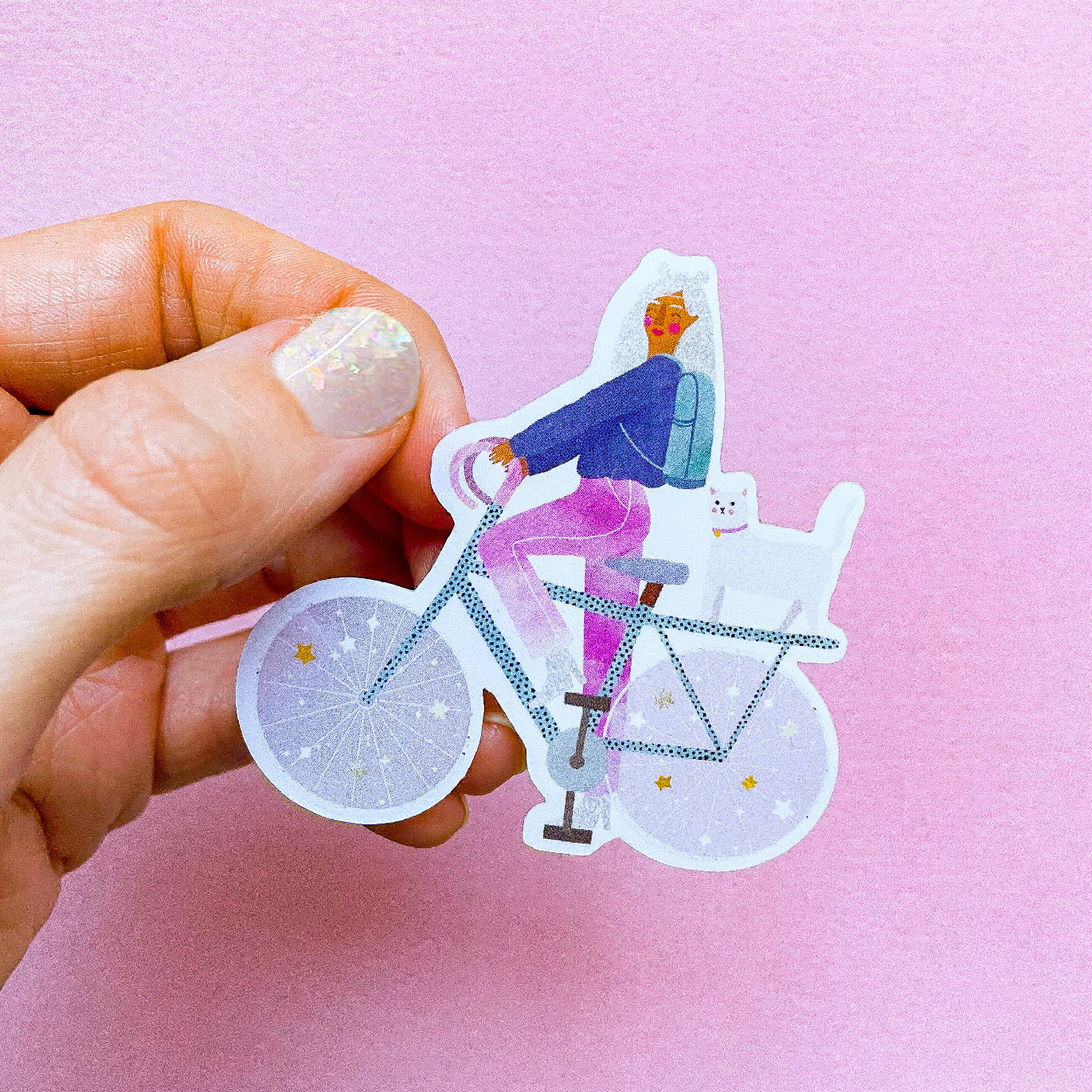 Semi transparent sticker - Cosmic bike