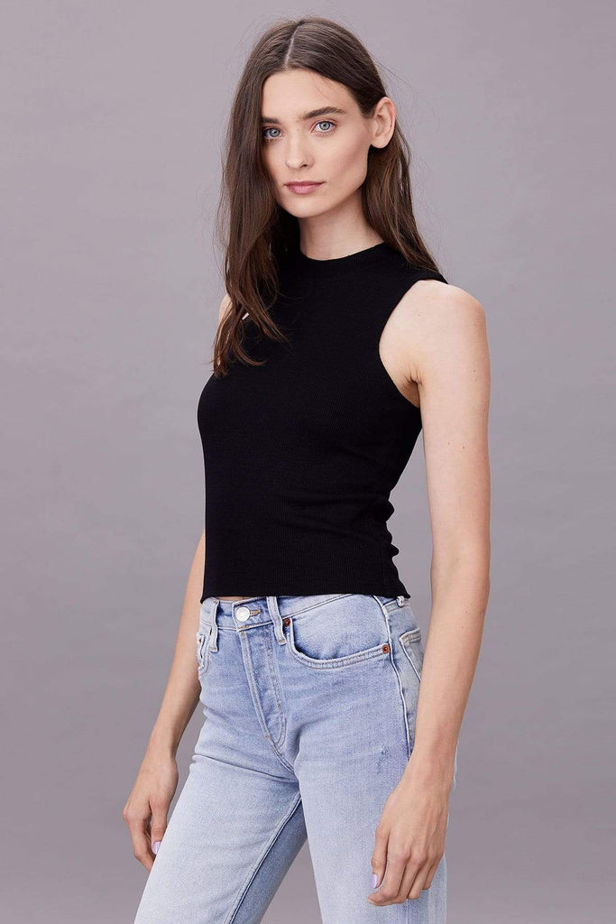 LnA Ribbed Double Layer Sleeveless Tee - Black Tees - Sloane Boutique