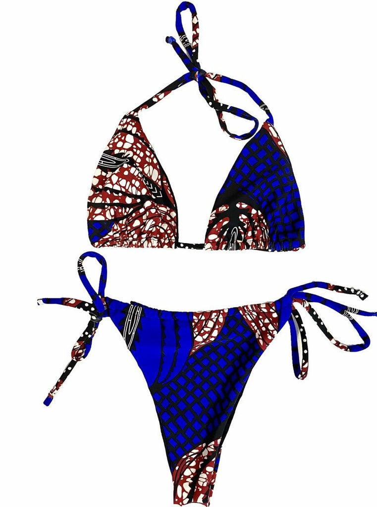 bikini swimwear swimsuit brazilian tanga ankara african inspired minikini red blue pattern diaspora new york black owned woman owned