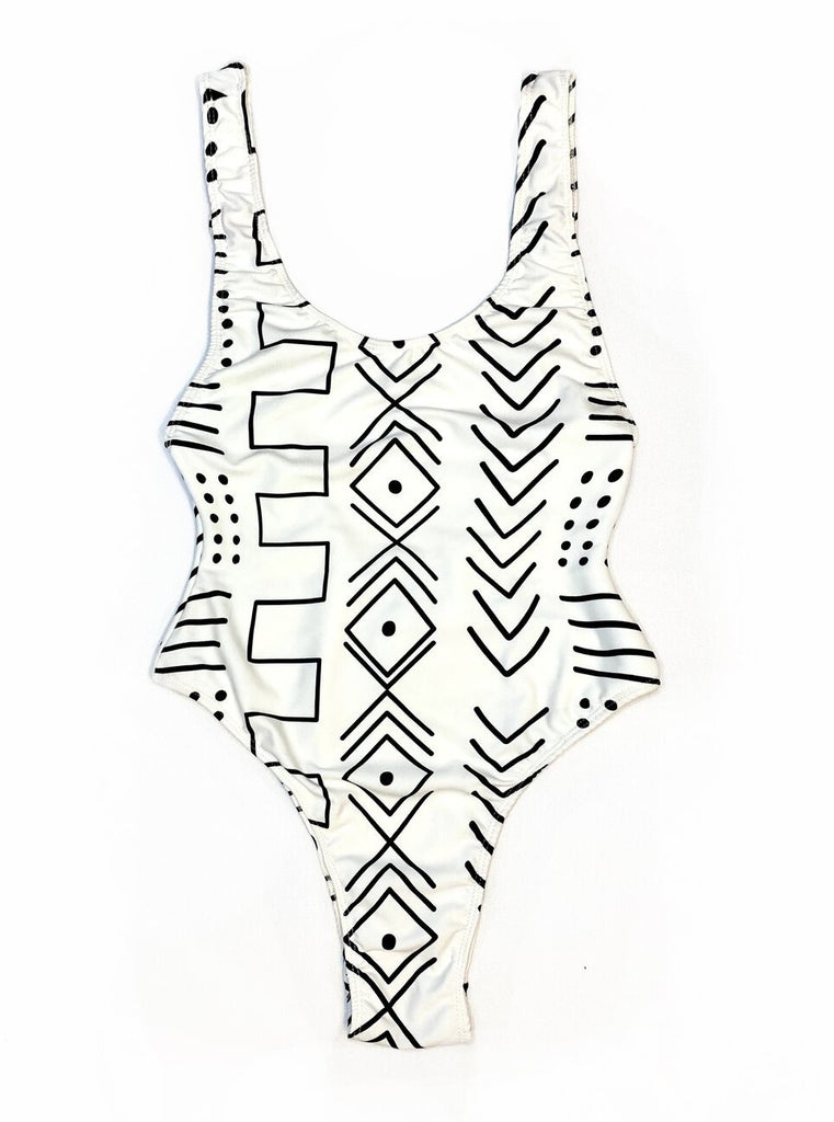 mudcloth one piece bodysuit leotard african swimwear swimsuit bathing suit