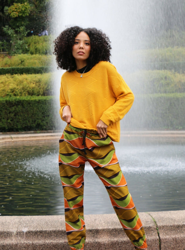 african inspired diaspora new york central park garden conservatory autumn wave pants curly girl fall style