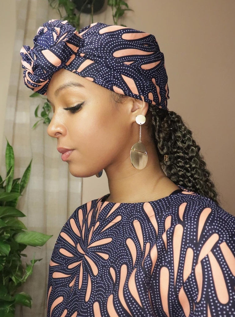 African Headwrap Pink Petals Afro Head Wrap Bonnet Accessories
