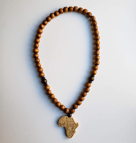 Sanaa - Chunky Light Brown Wooden Bead Africa Necklace