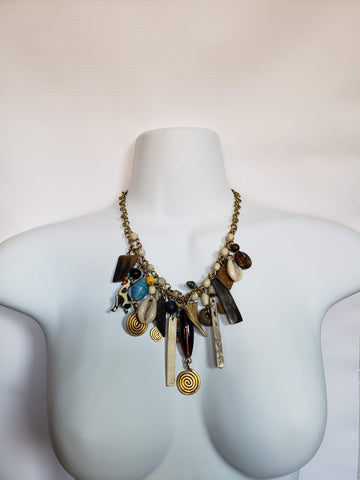 Aasir -  Shell Brass Beads and Bone Charm Necklace