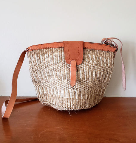 Omariba - Tan and Off-White Handwoven Shoulder Bag