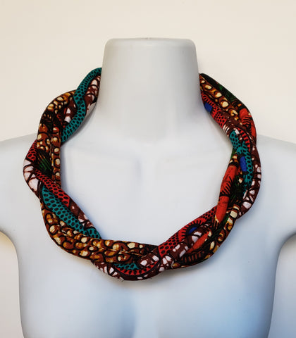 Cheneso - Twisted Rope African Print Necklace