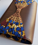 Cheneso - Large African Print and Leather Clutch Bag