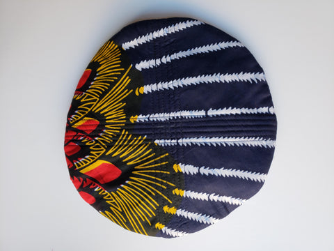 Masa- African Print Blue Red Yellow White Beret