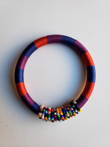 Issa - Red and Blue Threaded Bracelet with Beads