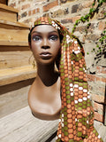 Dhuku - olive, White and Blush Pink Wax African Head Wrap