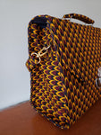 Fifi - Yellow Burgundy and Brown African Print Shoulder/Tote Bag
