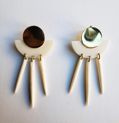 Chriki - White and Brass Half Moon Porcupine Spike Earrings