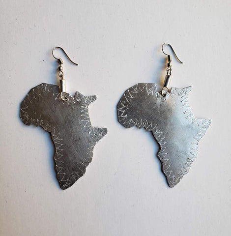 Angalia - Aluminum Map of Africa Earrings