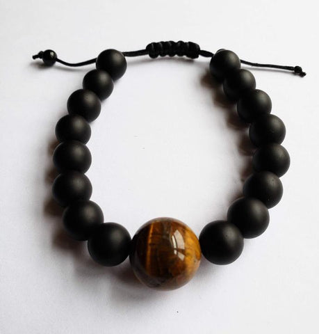 Taci - Tiger Eye and Matte Black Stone Unisex Bracelet