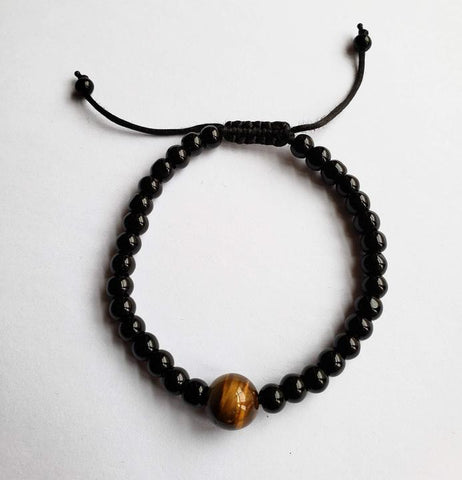 Oloo - Onyx and Tiger Eye Unisex Bracelet