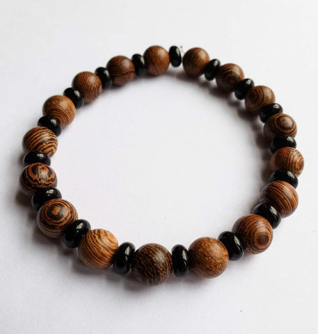 Mazaa - Onyx Stone and Wooden Beads Bracelet