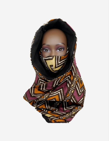 Aminanta I- Extra Bulky Unisex Mud Cloth Print Fleece Scarf and Face Mask Set