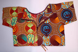 Sisi - Burnt Orange and Brown Geometric African Print Draw String Crop Top