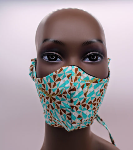 Yaw II – Turquoise and Gold Combo Tie Back and Adjustable Ear Loop Filter Pocket  Face Mask (Copy)