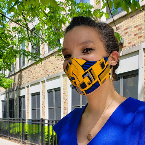 Yaw - Tie Back Filter Pocket Yellow and Blue Square African Print  Face Mask