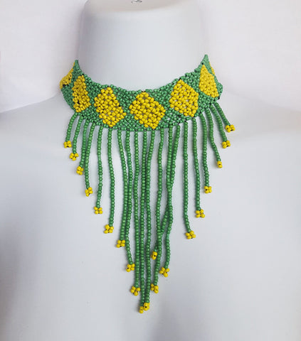 Waceera - Green and Yellow Beaded Choker