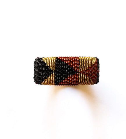 Thabiso III- Gold Brown and Black South African Beaded Bracelets
