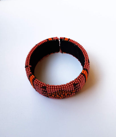 Thabiso V- pink and Orange Zulu South African Beaded Bracelets