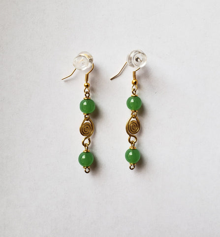 Tabari - Rust and Green Beaded Earrings