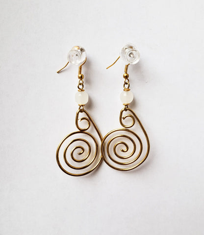 Auni - Spiral Brass Earrings