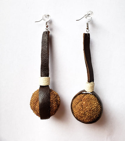 Fezeka - Leather and Sycamore Ball Earrings