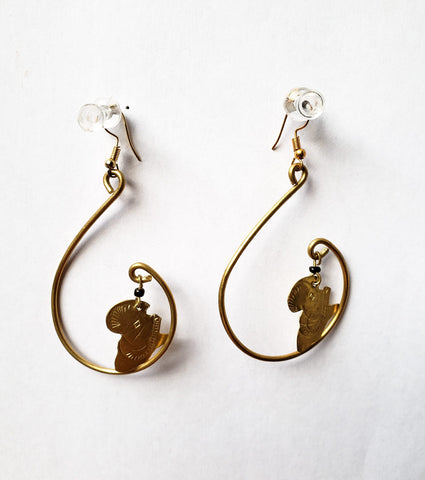 Kaweria - Africa Tear Drop Brass Earrings