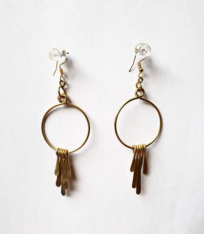 Gasira - Brass Circle and Tassel Earrings