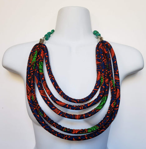 Cheneso - African Print Rope Layered Necklace