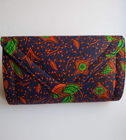 Cheneso - Dark Blue and Orange African Print Clutch Bag