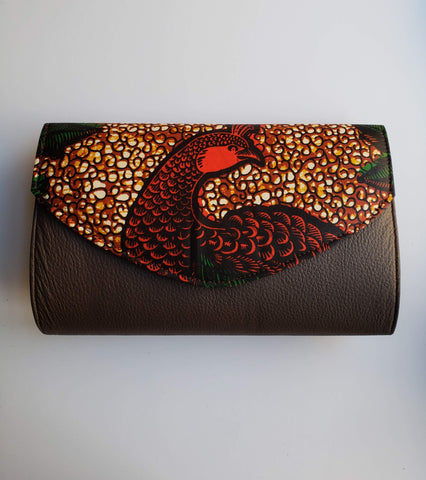 Cheneso - African Print and Faux Leather Clutch Bag