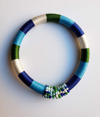 Issa - Blue White and Green Threaded Bracelet with Beads