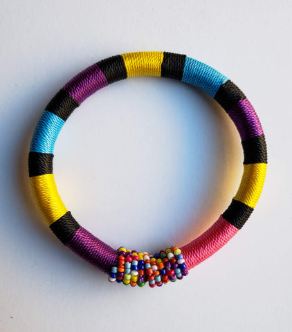 Issa - Yellow Purple and Pink Threaded Bracelet with Beads
