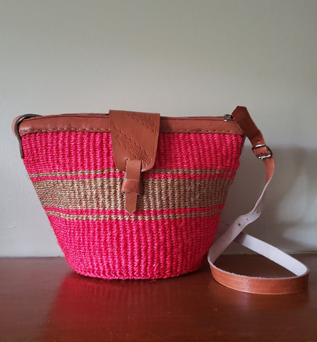 Kiondo III - Coral and Tan Handwoven Straw Shoulder Bag
