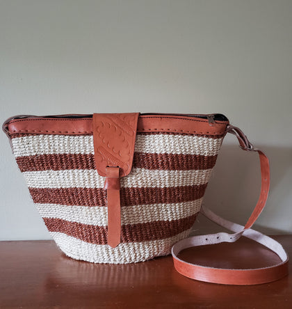 Kiondo II - Cream and Brown Striped Handwoven Straw Shoulder Bag